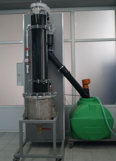 Experimental pulsating unit for studying hydrodynamics of the process of extraction (diffusion) from solid dispersions