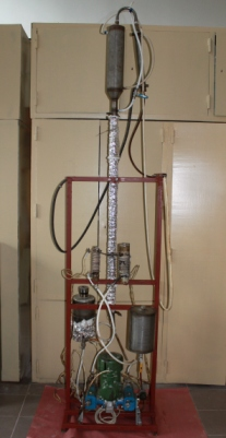 Experimental unit for producing unoxidized bitumen from very heavy crude oil